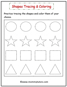 Shapes tracing and coloring
