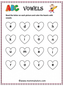 color hearts with vowel