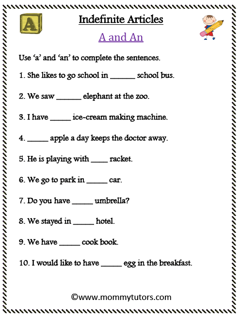 Indefinite Articles - A and An (Sentences)