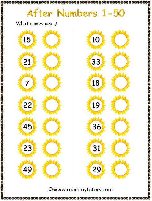 After numbers 1-50 sunflower